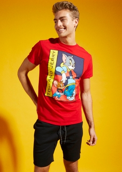 red retro tom and jerry graphic tee - Main Image