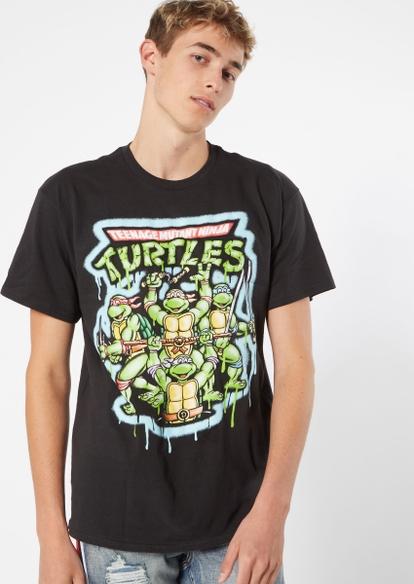 black teenage mutant ninja turtles airbrushed graphic tee - Main Image