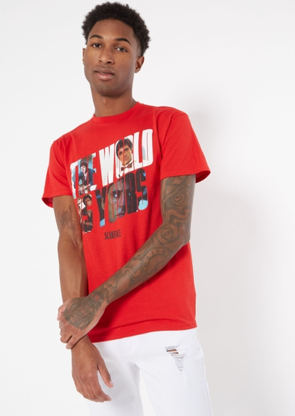 red the world is yours scarface graphic tee - Main Image