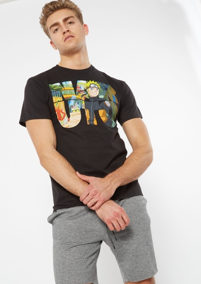 black naruto letters graphic tee - Main Image