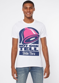 white not gon tell graphic tee - Main Image