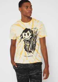 yellow tie dye smiley reaper graphic tee - Main Image