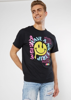 black have a nice trip smiley face graphic tee - Main Image