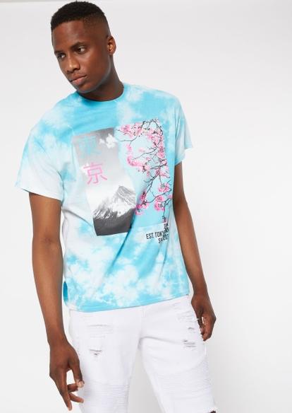 blue tie dye cherry blossom graphic tee - Main Image