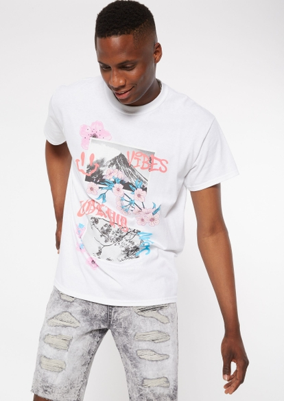 white tokyo vibes doodle graphic tee - Main Image