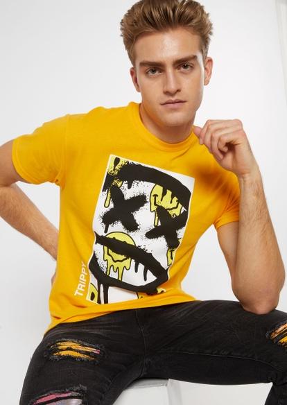 yellow spray paint smiley graphic tee - Main Image
