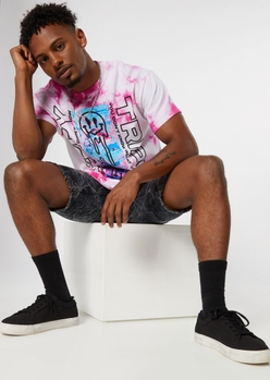 pink tie dye trippy smiley face graphic tee - Main Image