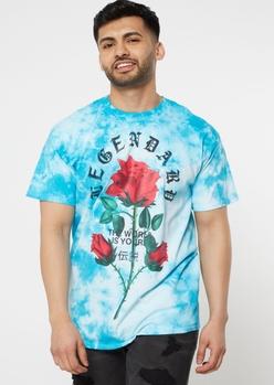blue tie dye legendary rose graphic tee - Main Image