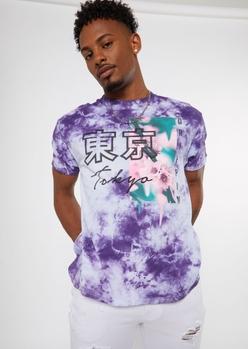 purple tie dye tokyo kanji graphic tee - Main Image
