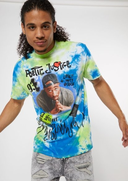 blue tie dye poetic justice doodle flame graphic tee - Main Image