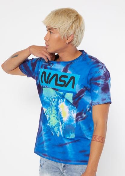 blue tie dye nasa astronaut graphic tee - Main Image