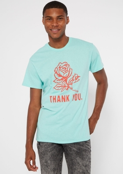 mint thank you rose graphic tee - Main Image