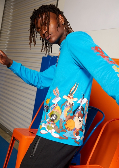 teal tune squad team graphic long sleeve tee - Main Image