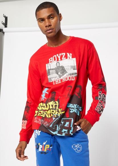 red boyz n the hood long sleeve graphic tee - Main Image