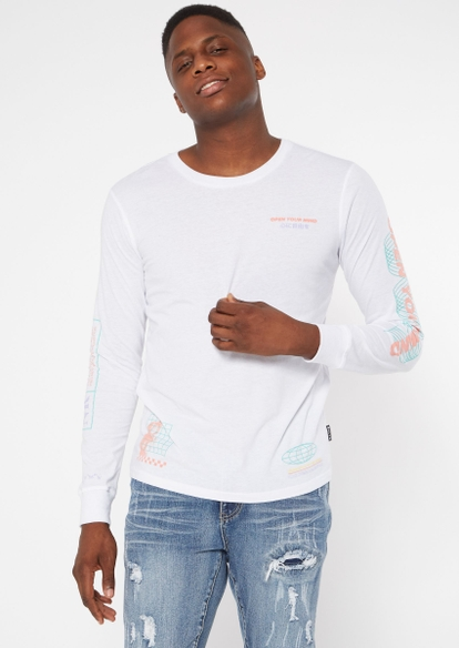 white open your mind long sleeve graphic tee - Main Image