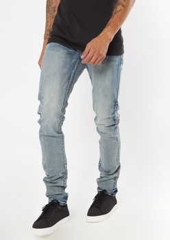 medium wash stacked skinny jeans - Main Image