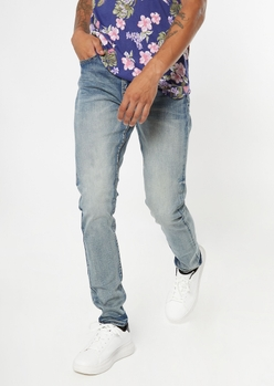 medium wash slim taper jeans - Main Image