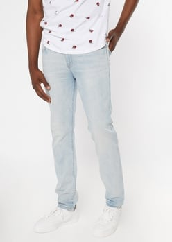 ultra flex light wash sandblasted skinny jeans - Main Image