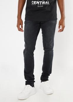 supreme flex black stacked skinny jeans - Main Image