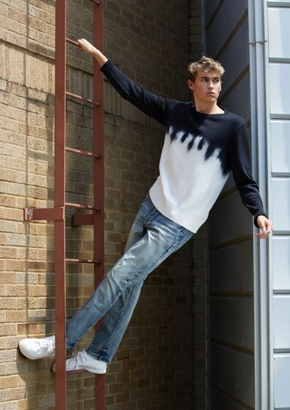 medium wash straight jeans - Main Image