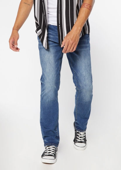 dark wash faded straight leg jeans - Main Image