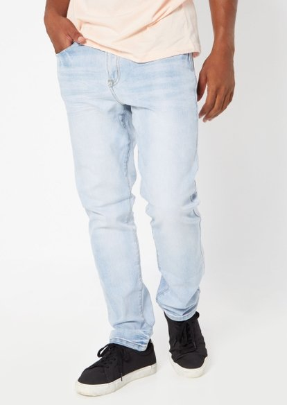 light wash stretch straight jeans - Main Image