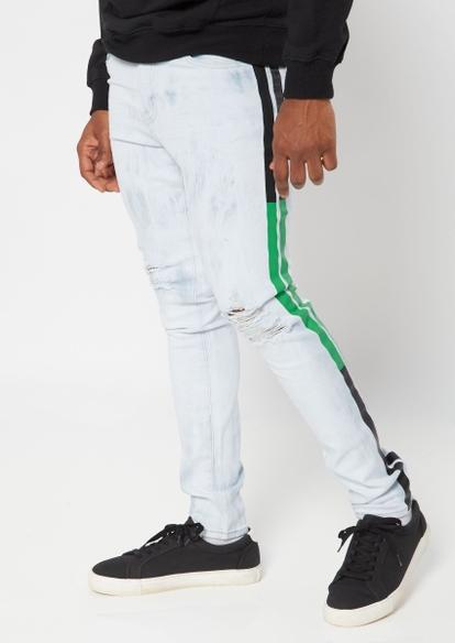 light tie dye wash side stripe jeans - Main Image