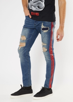 dark wash ripped side striped skinny jeans - Main Image