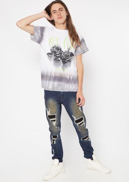 dark wash moto rip repair faded skinny jeans - Main Image