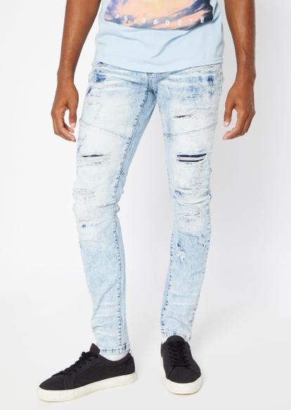 light bleach wash rip repair moto seam stretch skinny jeans - Main Image