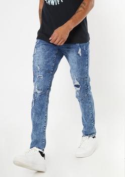 dark wash darted ripped repaired skinny jeans - Main Image