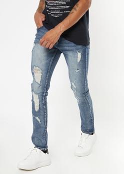 dark wash ripped repaired skinny jeans - Main Image
