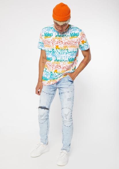 light acid wash seam zipper knee skinny jeans - Main Image