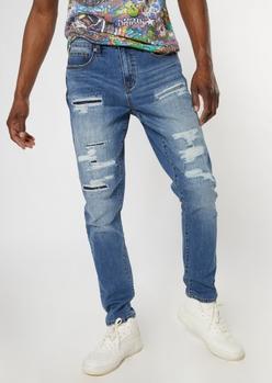 medium wash ripped repaired slim taper jeans - Main Image