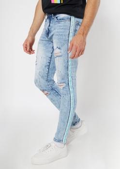 light wash splatter paint side stripe jeans - Main Image