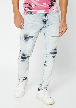 light acid wash ripped repaired moto backed skinny jeans - Main Image