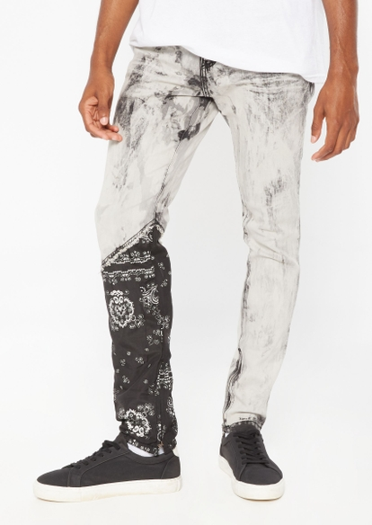gray wash bandana skinny jeans - Main Image