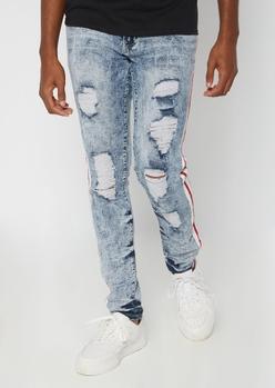supreme flex light acid wash side striped skinny jeans - Main Image