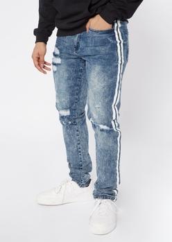 medium wash destroyed side stripe jeans - Main Image