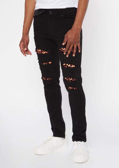 black ripped repaired flame backed skinny jeans - Main Image