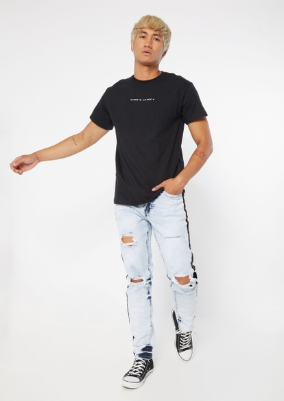 light acid wash rhinestone side stripe skinny jeans - Main Image