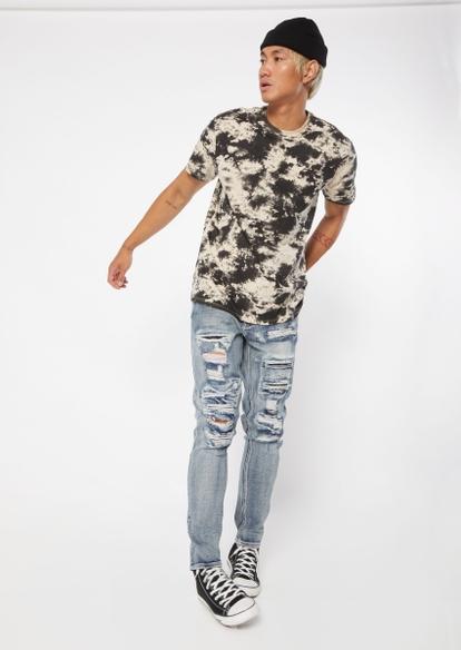 medium wash ripped skinny jeans - Main Image