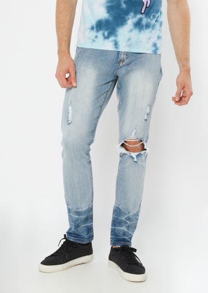 light wash blown knee skinny jeans - Main Image