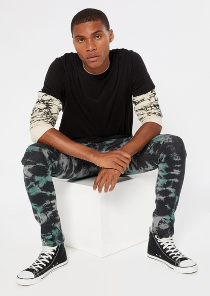 black green crackle wash skinny jeans - Main Image