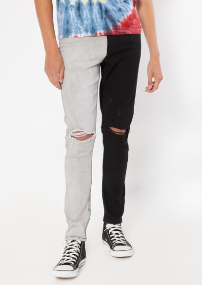 black gray two tone contrast ripped knee jeans - Main Image
