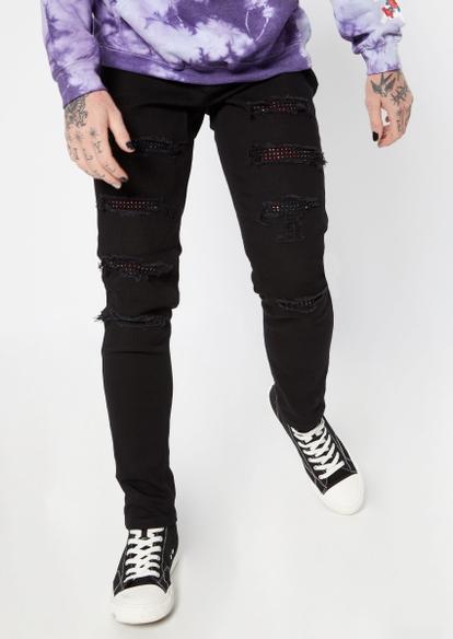 black rhinestone stud rip repair skinny jeans - Main Image