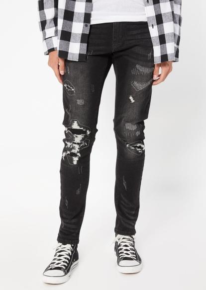 black ripped repair sknny arc jeans - Main Image