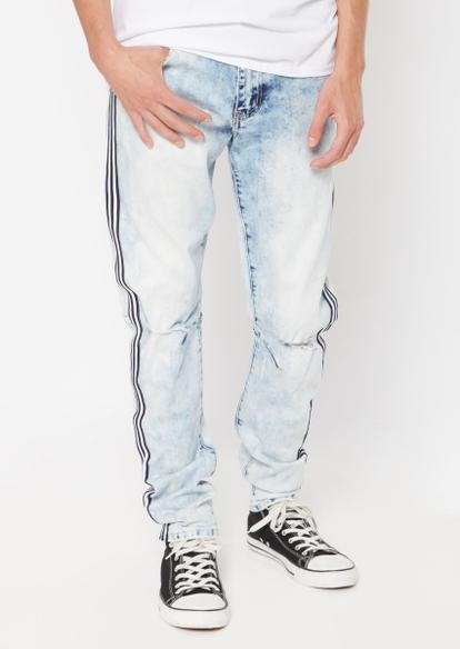 light wash black side stripe skinny arc jeans - Main Image