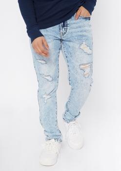 light acid wash destructed skinny jeans - Main Image