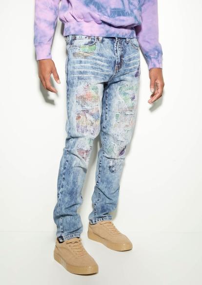 medium wash rip repair paint splatter skinny jeans - Main Image